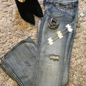 Express Stella Stud Detail Bootcut Jeans (Blue, 6)